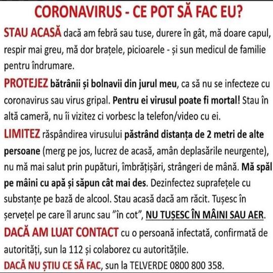 - ce pot sa fac pentru Coronavirus - Informatii Coronavirus (Covid-19)