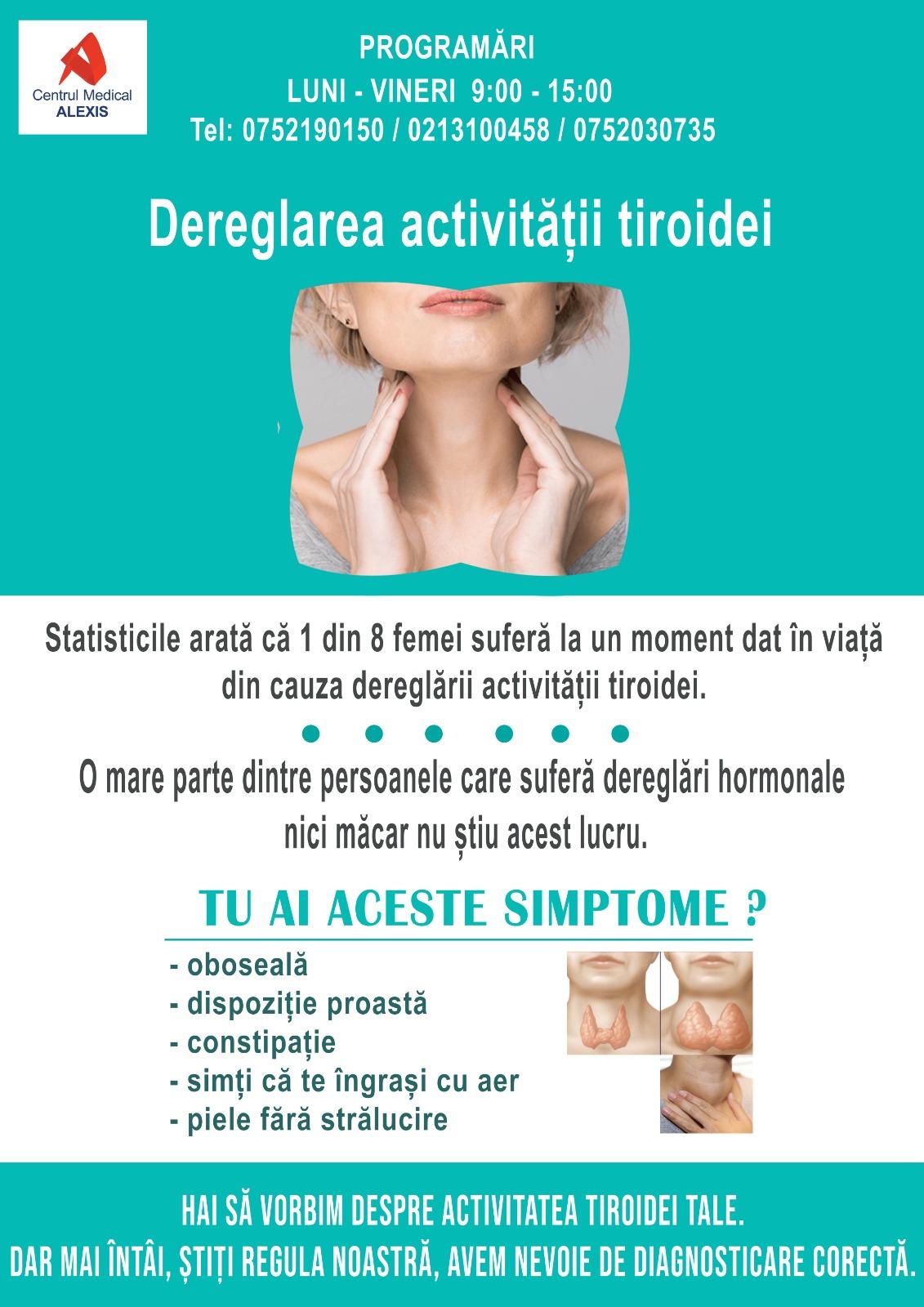 - dereglarea activitatii tiroidiene CM Alexis 2020 - 1 din 8 femei suferă la un moment dat din cauza dereglării activității tiroidei